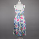 1980s abstract floral strappy tea dress