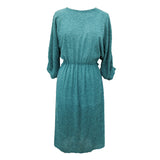 1980s turquoise tufted chiffon vintage dress