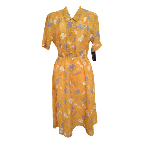 1980s yellow vintage secretary dress