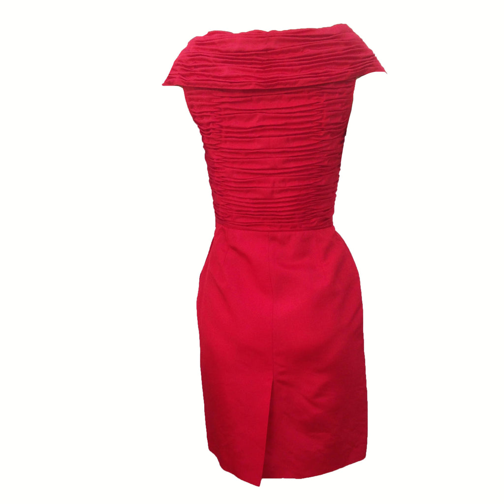 1980s red shawl collar cocktail dress