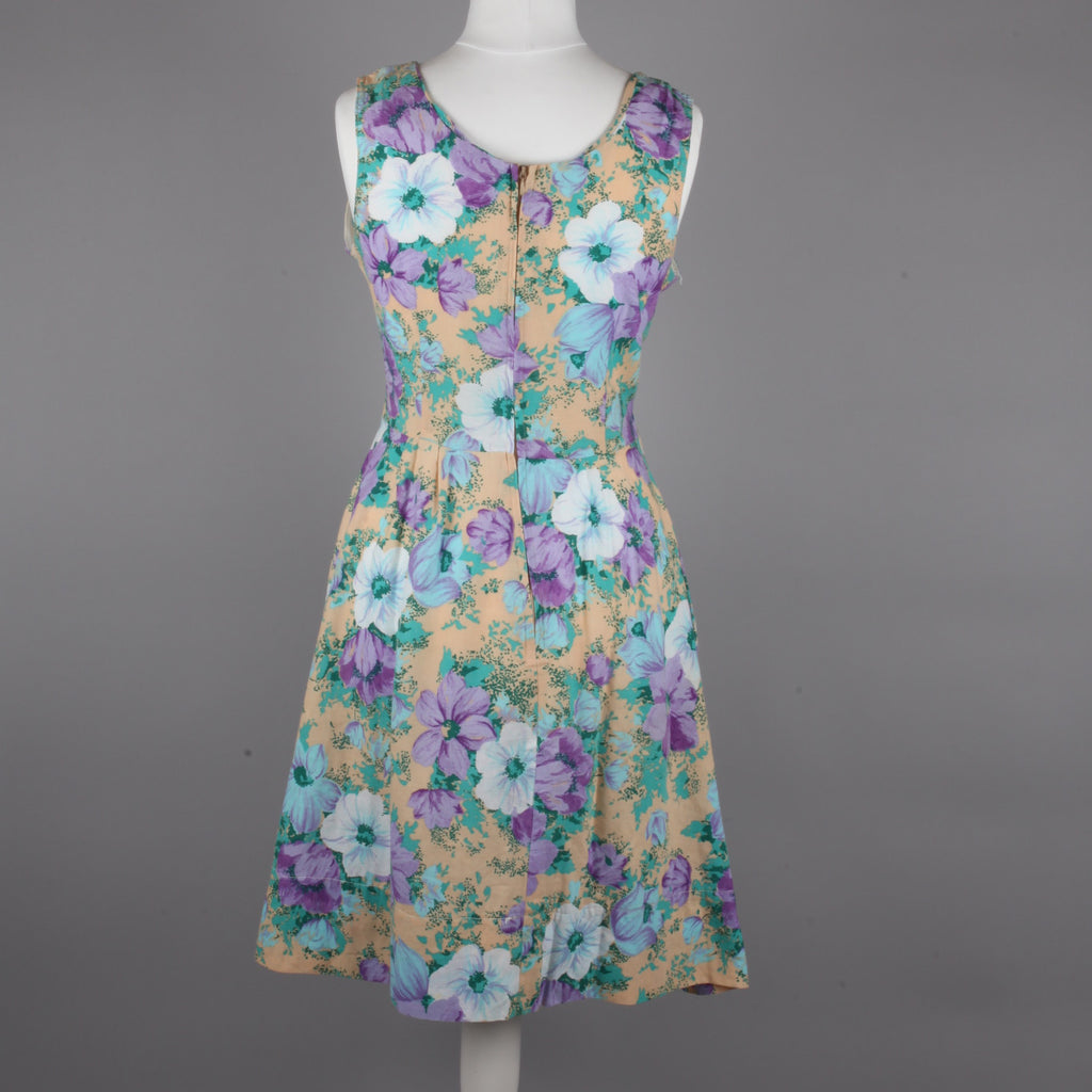 1970s woven cotton floral tea dress