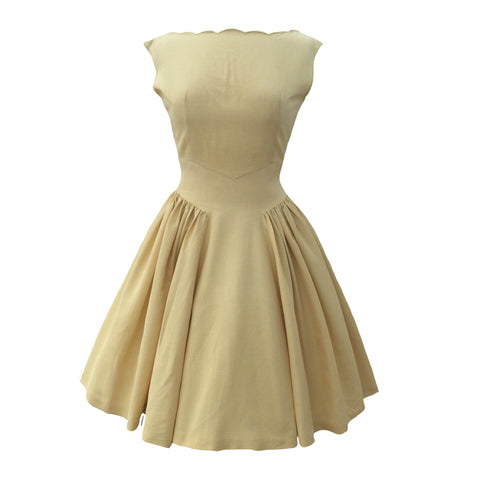 1950s golden yellow vintage party dress