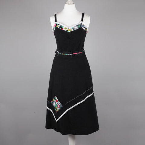 1970s black and floral vintage sundress