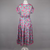1980s fine cotton floral tea dress