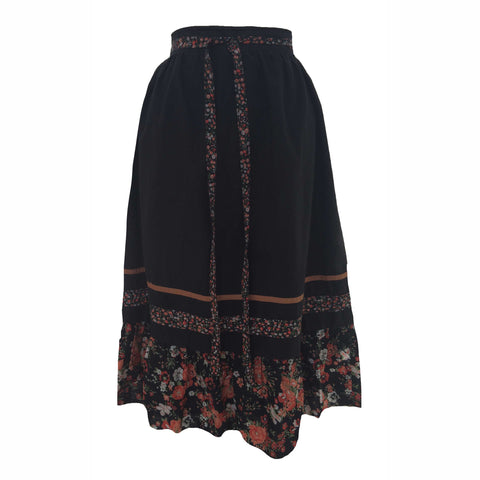 1970s boho style tiered vintage skirt
