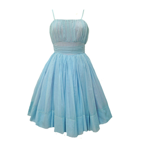 1950s baby blue vintage prom dress