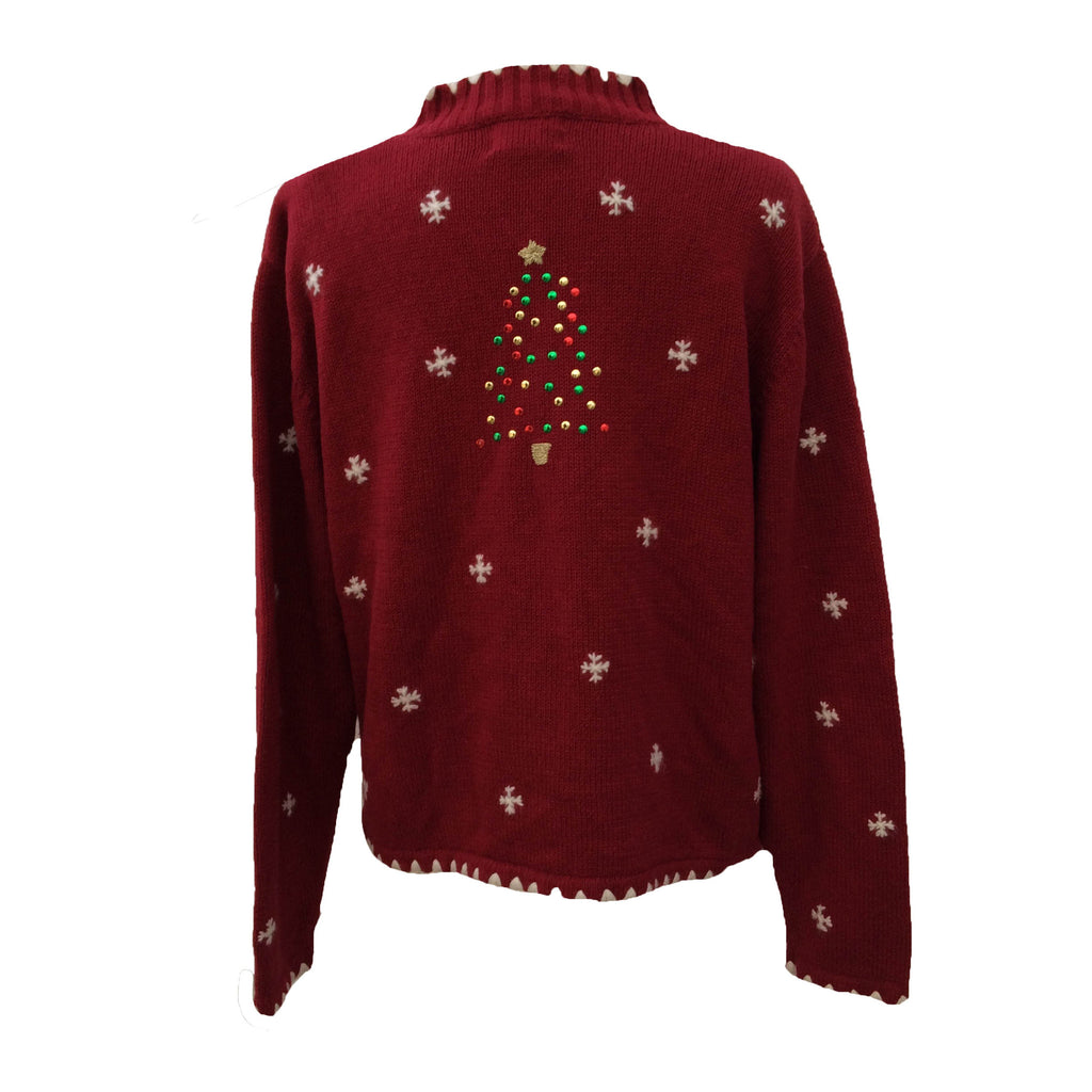Deep red vintage festive sweater