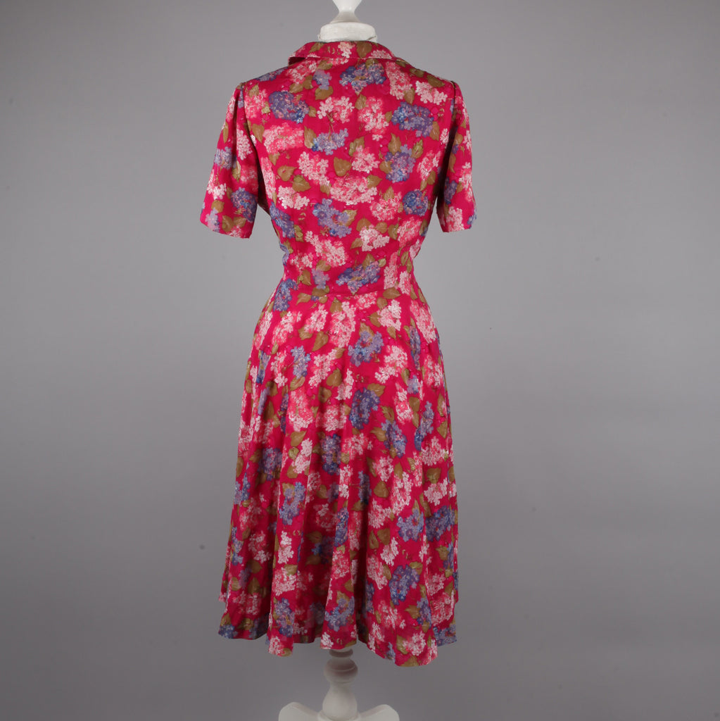 1980s does 50s pink floral tea dress