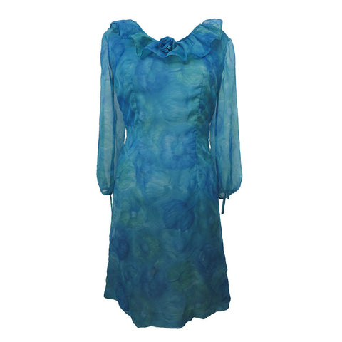 1960s smudgy blue chiffon cocktail dress
