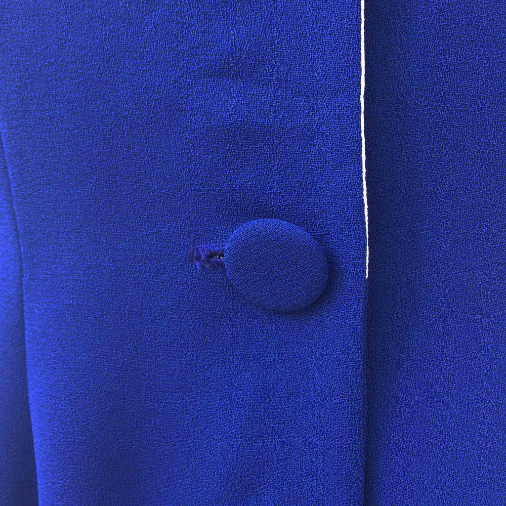 1970s royal blue crepe coat dress