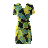 1980s bold abstract print chiffon dress
