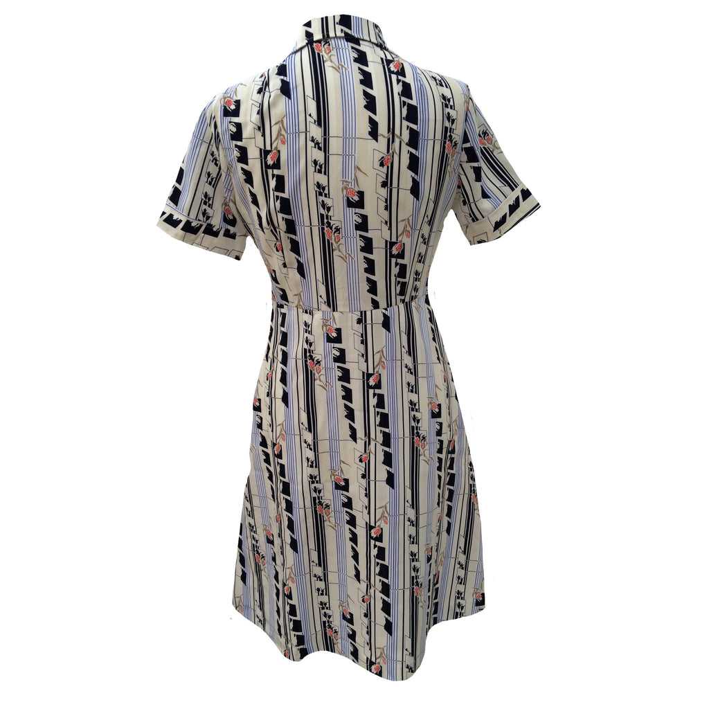 1970s abstract print vintage shirt waister dress