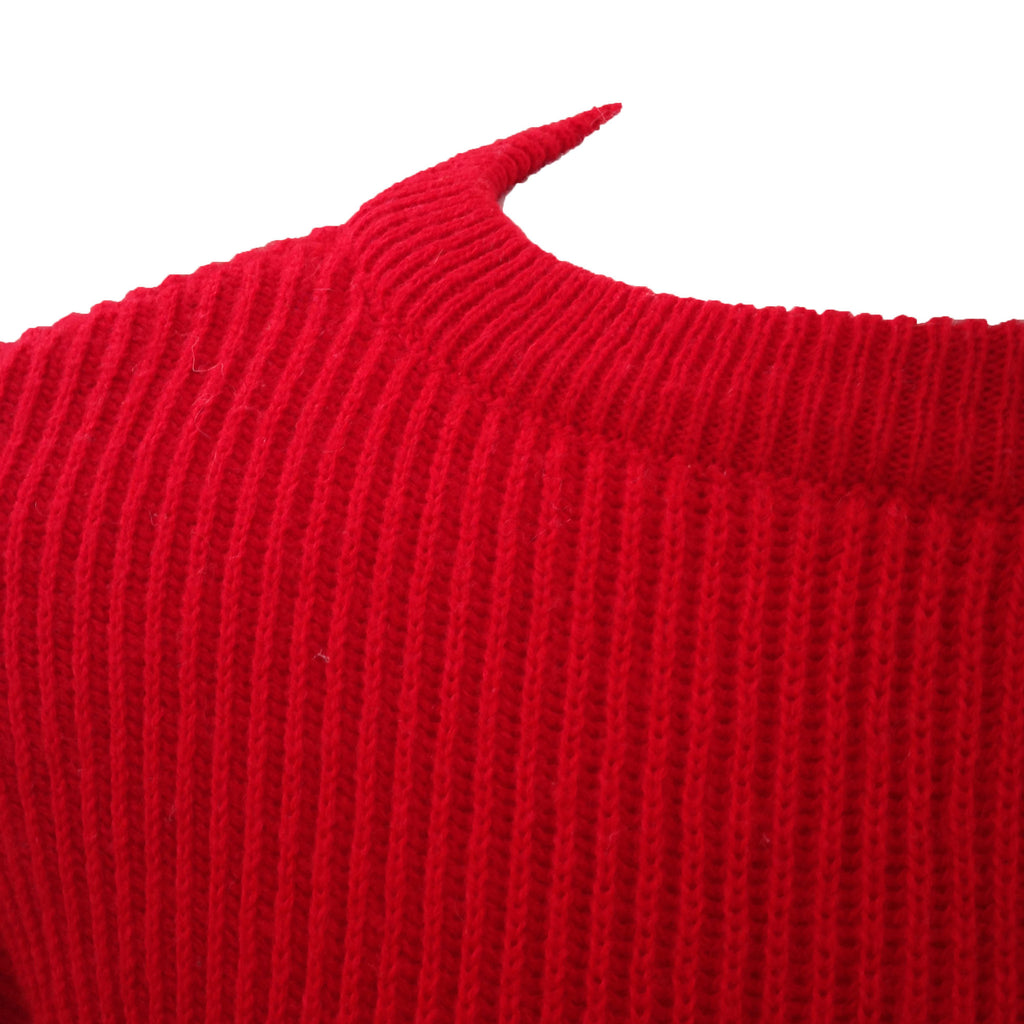 1980s red chunky knit vintage jumper