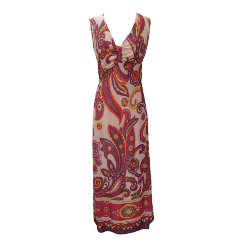 1960s paisley design vintage maxi dress