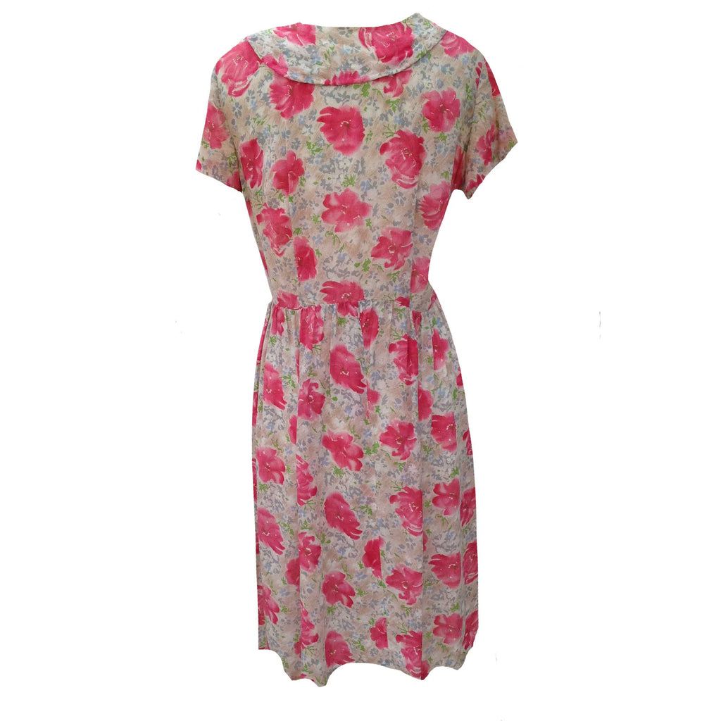1950s pink floral vintage rayon dress