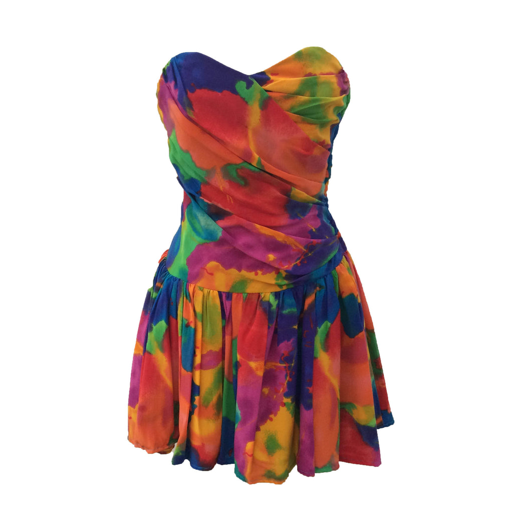 1980s strapless vintage party dress