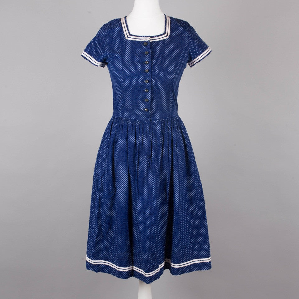 1950s navy polkadot vintage day dress