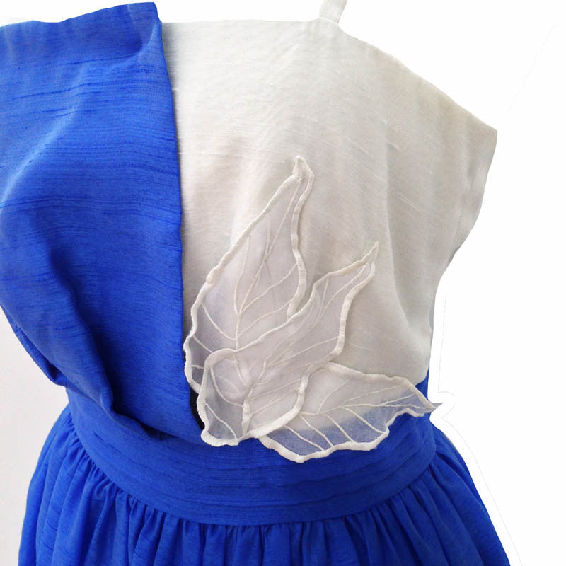 1980s blue and cream vintage prom dress