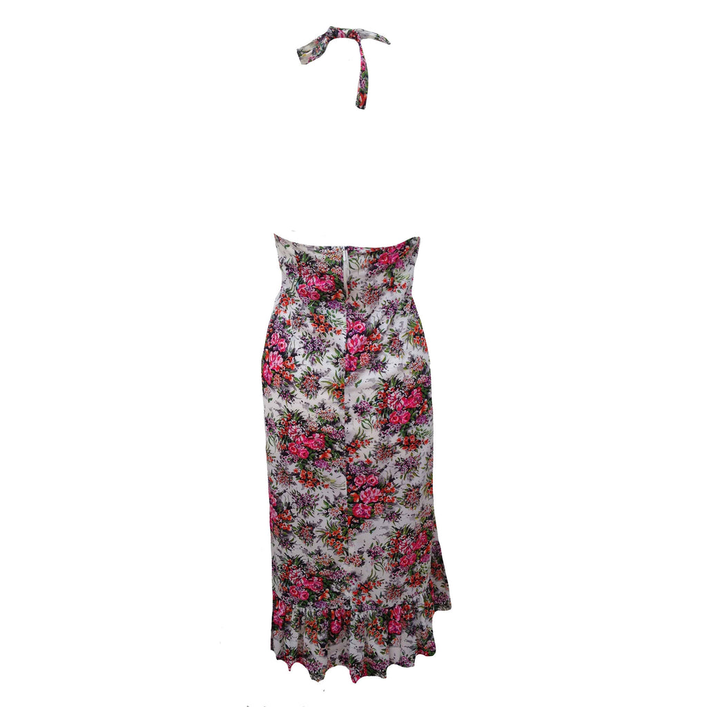 1970s halter neck floral midi dress