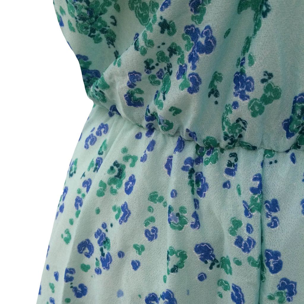1980s floaty green and blue midi dress