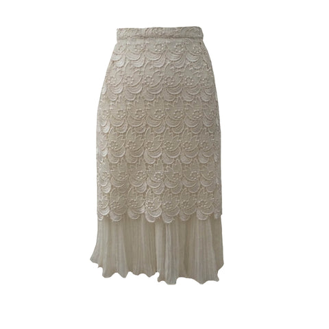 1980s cream lace vintage skirt