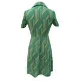 1970s green geometric striped vintage dress