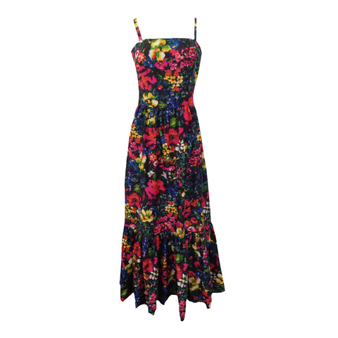 1970s colourful wild flower print maxi dress