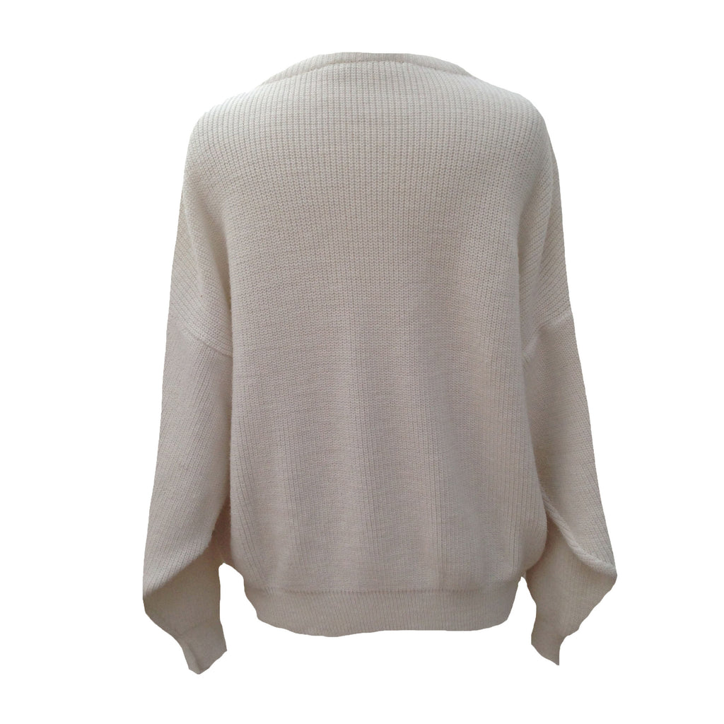 1980s cream chunky knit vintage sweater