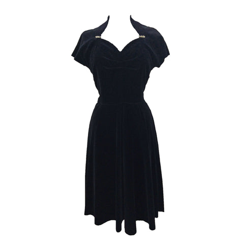 1950s black velvet & rhinestone cocktail dress