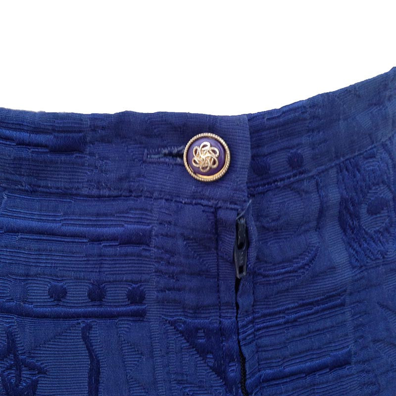 1980s royal blue brocade vintage skirt