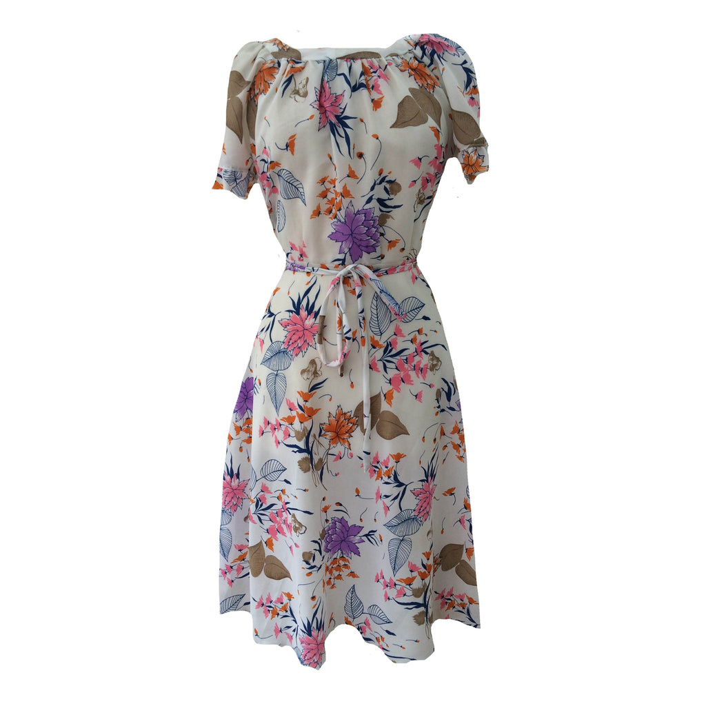 1960s sheer floral vintage tea dress