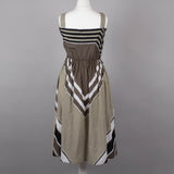 1970s green chevron stripe vintage sundress