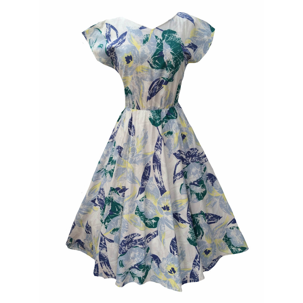 1980s leaf print vintage rockabilly dress