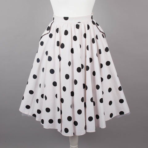 1980s rockabilly polkadot circle skirt