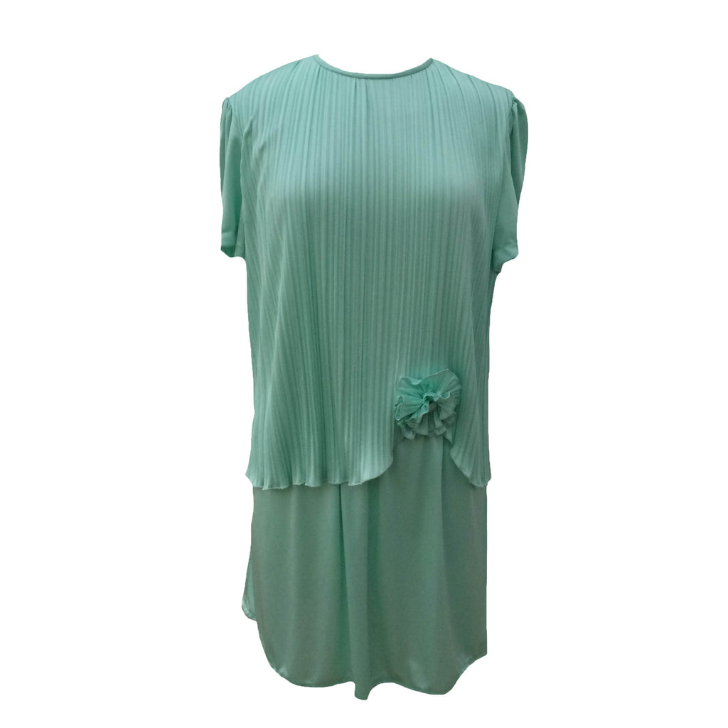 1980s pleated mint vintage cocktail dress