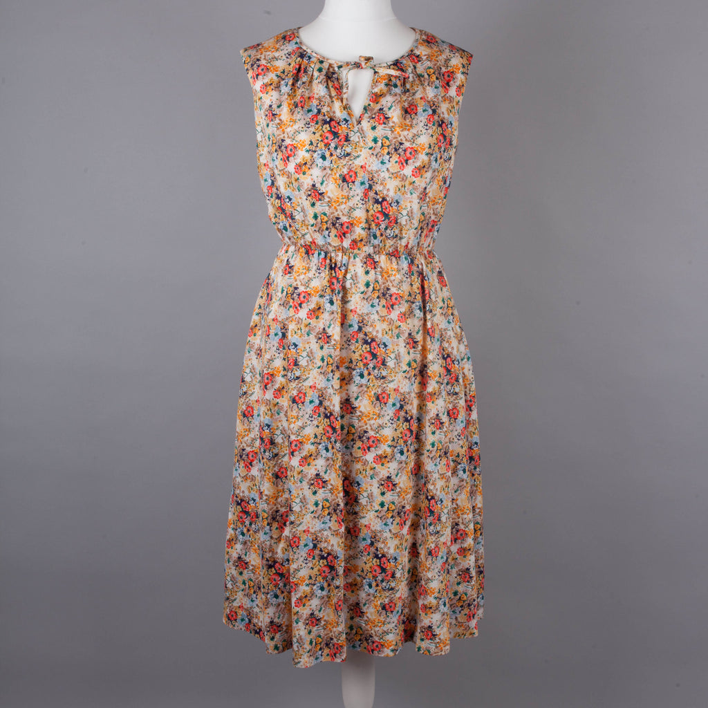 1970s floral cotton vintage midi dress