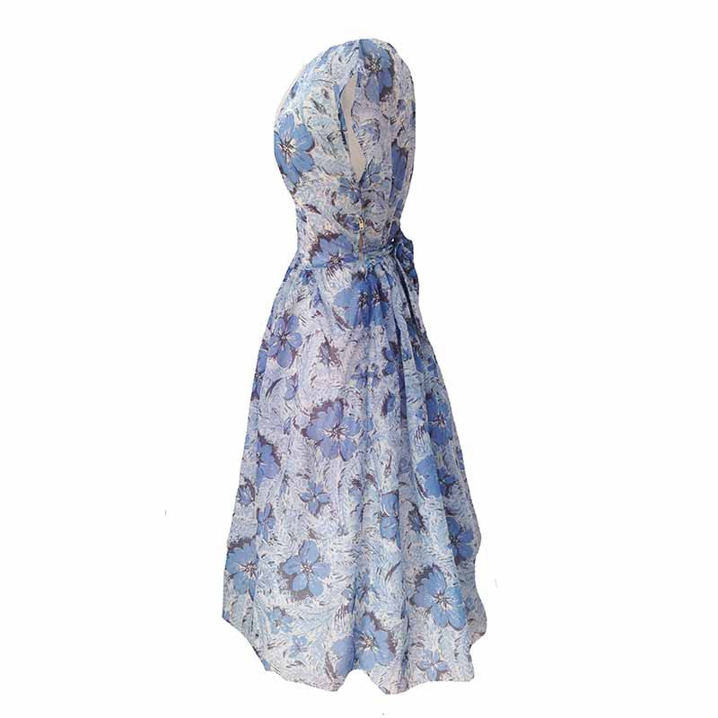 1950s blue floral vintage party dress