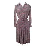 1970s grey and pink shirtwaister dress