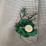1970s green roses shirt waister dress
