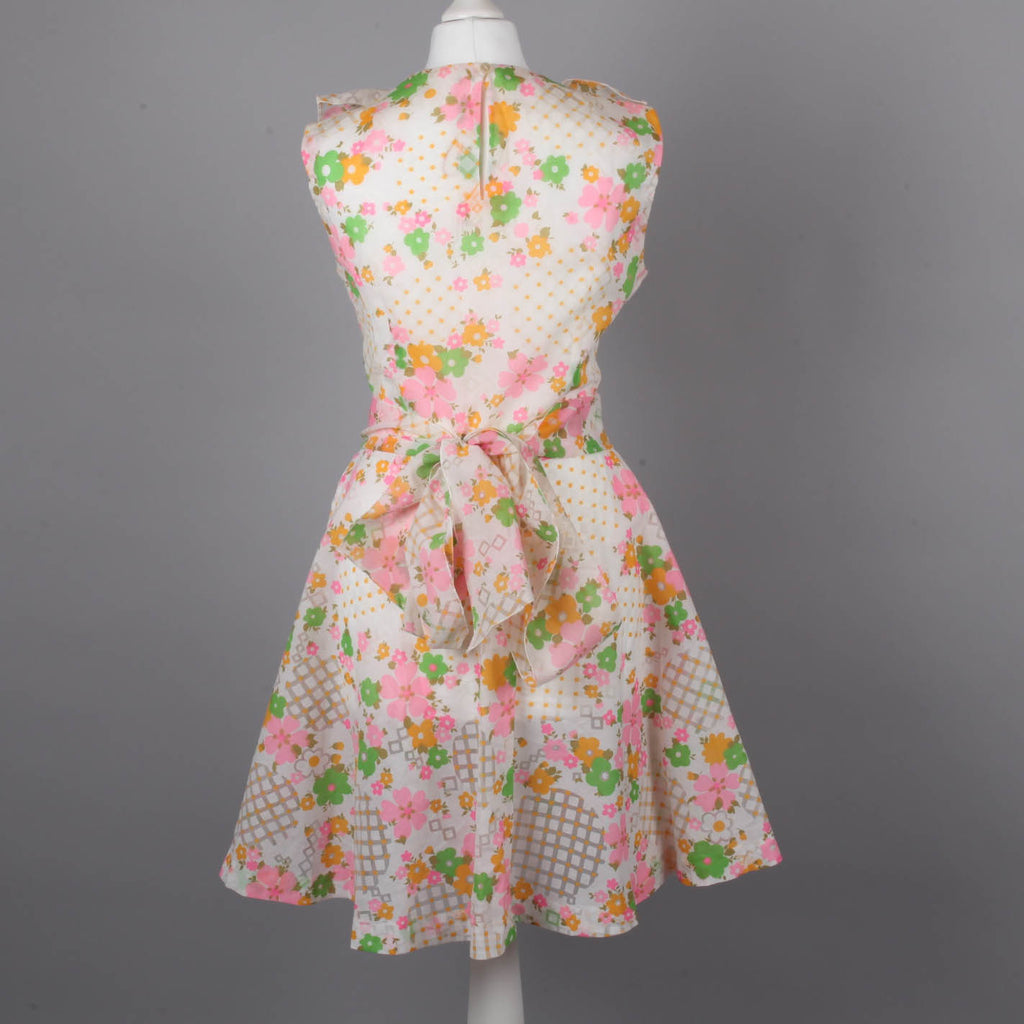 1970s ruffle front pastel tea dress