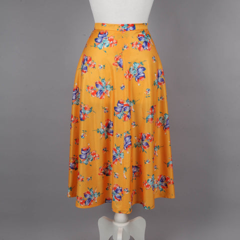 1970s yellow floral A line vintage midi skirt