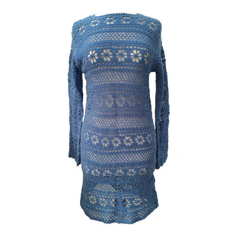 1970s blue hand crochet vintage dress