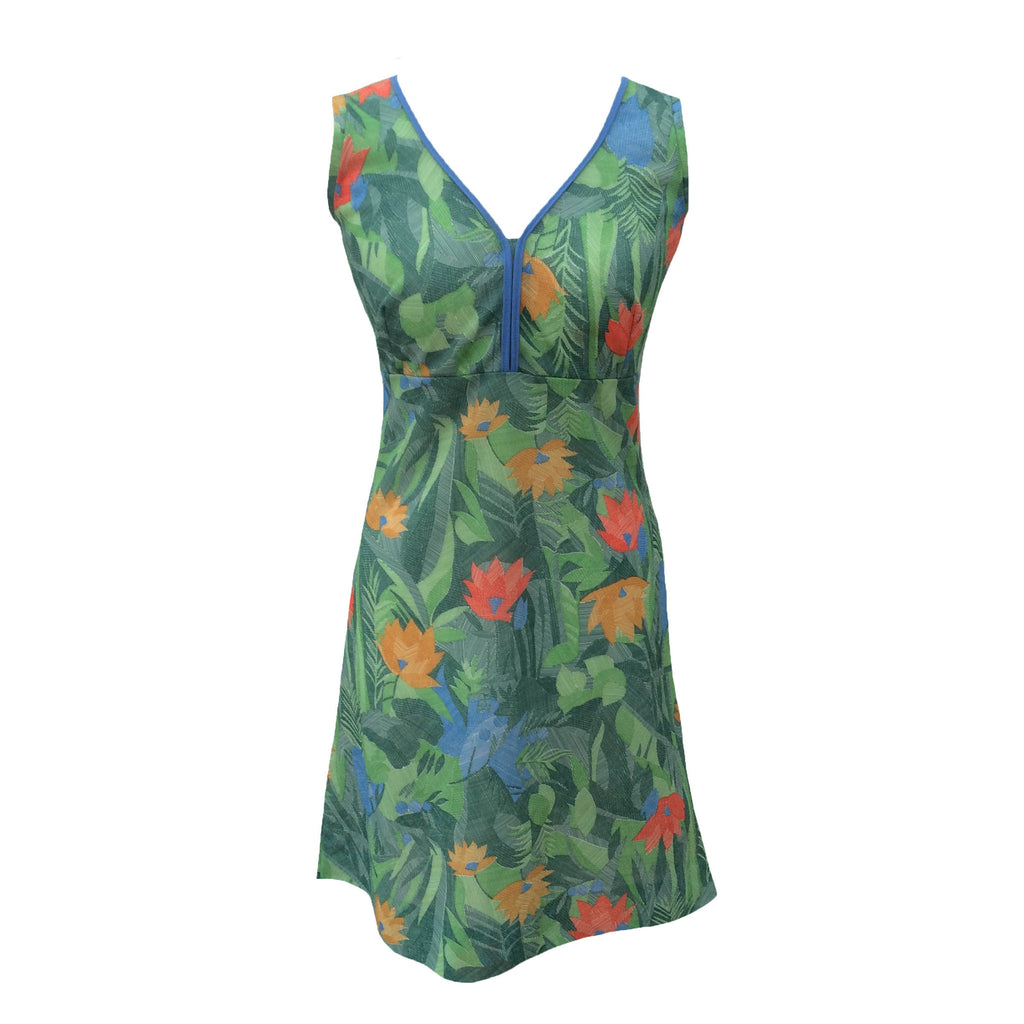 1970s tropical print vintage beach dress