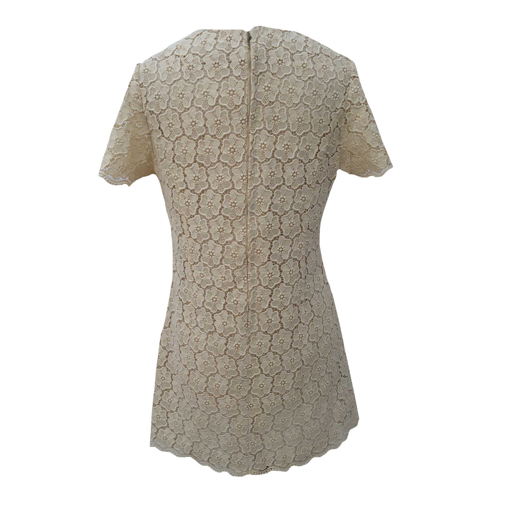 1960s cream guipure lace shift dress