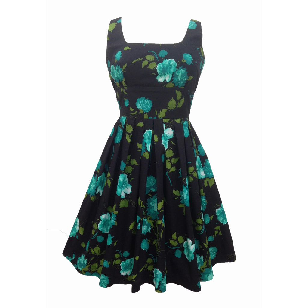 Reproduction 1950s teal roses dress 8/10
