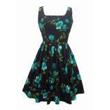 Reproduction 1950s teal roses dress 6