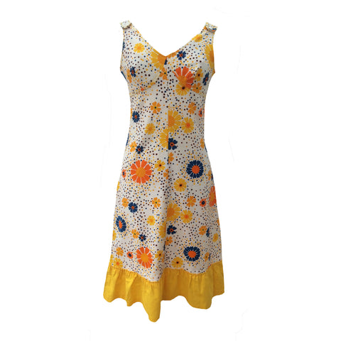 1970s bright abstract floral pinafore dress