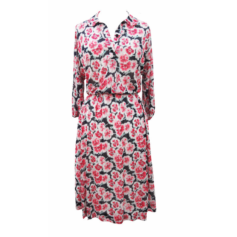1980s poppy print chiffon midi dress