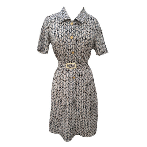 1970s abstract print shirt waister dress