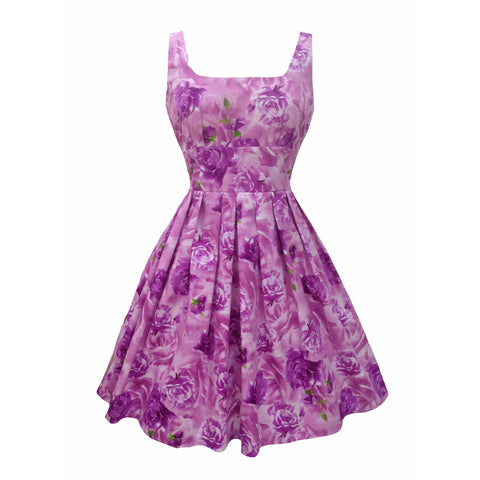 Reproduction 1950s lilac roses dress 8
